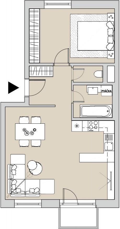 Pôdory bytu - 406 - varianta 2 - izbový
