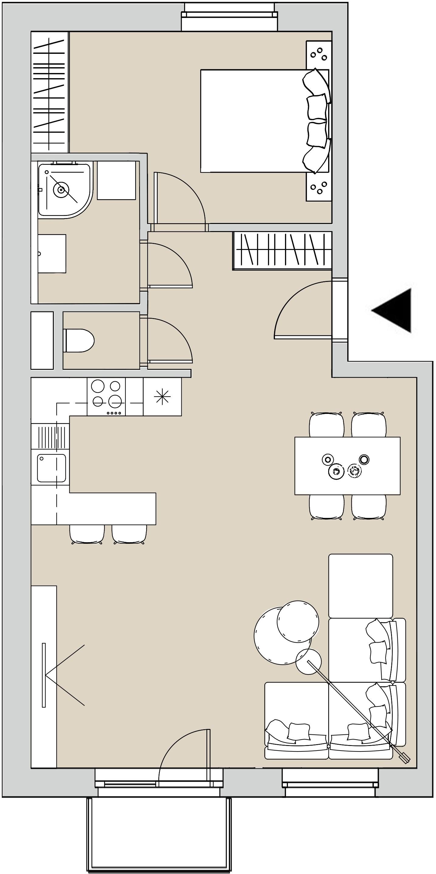 Pôdory bytu - 307 - varianta 2 - izbový