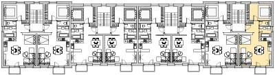 Pôdory poschodia č. 3 s vyznačením bytom 308