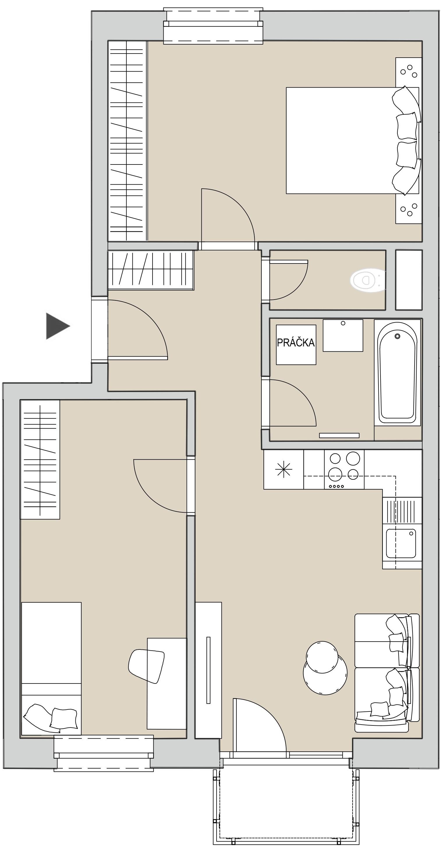 Pôdory bytu - 306 - varianta 3 - izbový