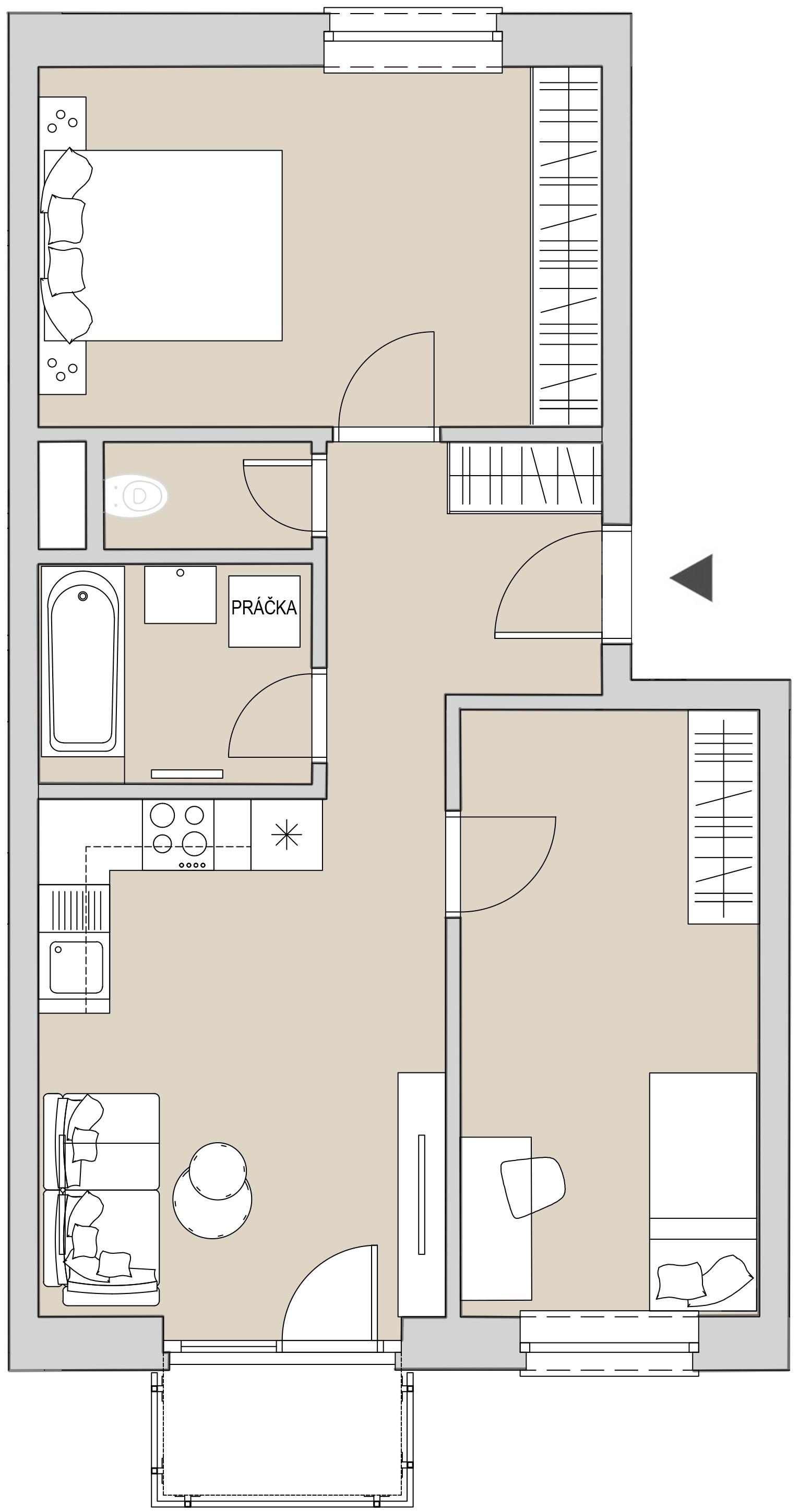 Pôdory bytu - 305 - varianta 3 - izbový