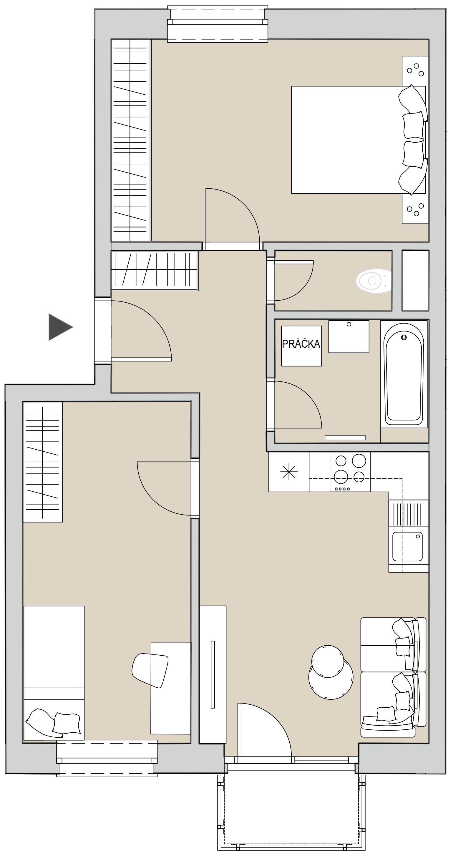 Pôdory bytu - 206 - varianta 3 - izbový