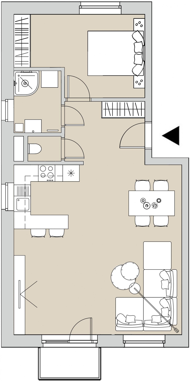 Pôdory bytu - 301 - varianta 2 - izbový